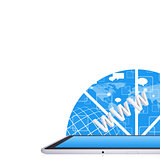 Tablet PC on the abstract background