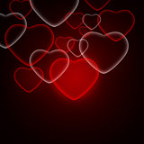 Abstract background of red hearts