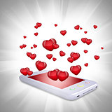 Red hearts fly out of the smartphone