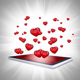 Red hearts fly out of the tablet PC
