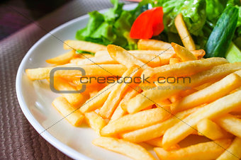 French fries potatoes ready to be eaten