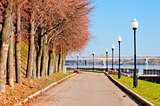 Pedestrian sidewalk along the banks of the River Volga.
