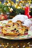 Christmas stollen on a celebratory table.