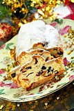 Christmas stollen on a beautiful dish.