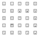 Square face icons with reflect on white background