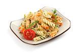 Fusilli pasta with tomato sauce