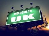 Billboard Welcome to UK at Sunrise.