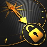 Golden Icon of Opened Padlock on Black Compass.