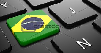 Brazil - Flag on Button of Black Keyboard.