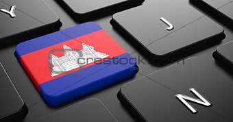 Cambodia - Flag on Button of Black Keyboard.
