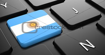Argentina - Flag on Button of Black Keyboard.