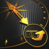 Golden Icon of Money in the Hand on Black Compass.