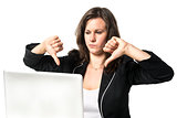 Woman in office with thumbs down