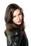 Woman with leather jacket