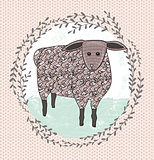 Cute little sheep illustration for children.