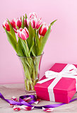pink and white tulips present ribbon easter birthday