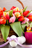 pink present and colorful tulips festive easter decoration
