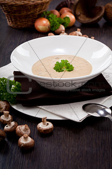 fresh chmapignon cream soup with parsley