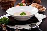 fresh chmapignon cream soup with parsley