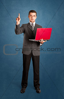 Business Man Shows Something With Finger