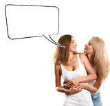 Two European Women With Speech Bubble