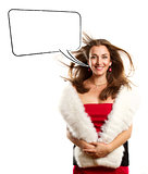 Woman In Red Dress With Furs With Speech Bubble