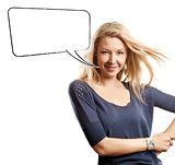 Woman Looking on Camera With Speech Bubble