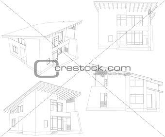 Frame house. Four angle