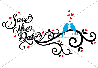 save the date, wedding birds, vector