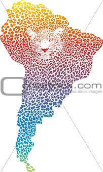 Abstract Jaguar on the map America