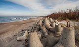 Concrete boulders at the north coast of Poland