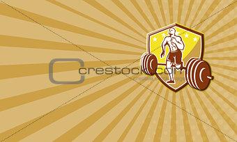 Crossfit Athlete Runner Barbell Shield Retro