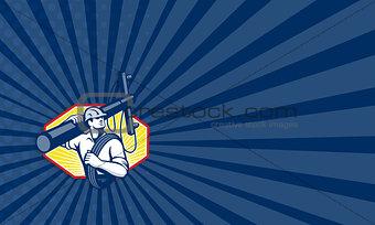 Power Lineman Repairman Carry Electric Pole