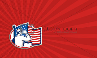 American Soldier Salute Flag Retro