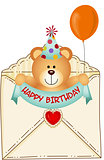 Teddy Bear in Happy Birthday Envelope