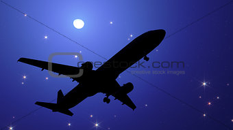 Plane in the night sky