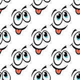 Happy emoticon face seamless pattern
