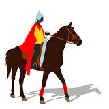Rider on a horse in clothing warrior with a sword and wearing a