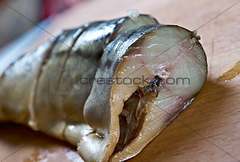 Smoked mackerel cut with slices