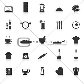 Kitchen icons with reflect on white background