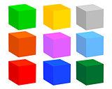 nine cubes