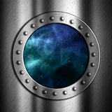 Brushed metal background with space porthole