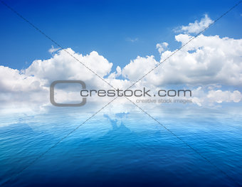 Seascape and clouds