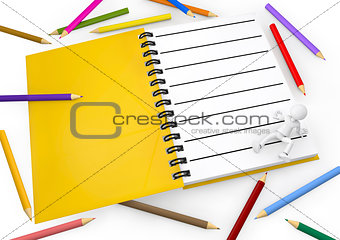 3d white person with blank spiral notepad and a pencil colors.