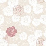 Seamless retro vector floral pattern with classic white and red roses on beige background