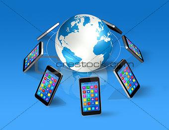 Smartphones Around World Globe, Global Communication