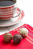 chocolate truffles with coffee