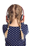 little girl with headphones from behind