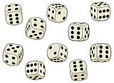Set of vector dices on a white background