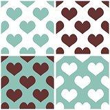 Seamless vector blue and brown background set with hearts.